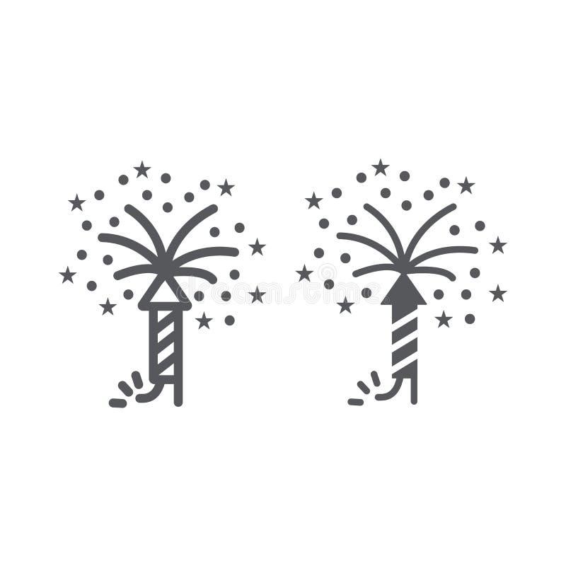 Γραμμή πυροτεχνημάτων και glyph εικονίδιο, κόμμα και φεστιβάλ, firecracker σημάδι, διανυσματική γραφική παράσταση, ένα γραμμικό σ απεικόνιση αποθεμάτων
