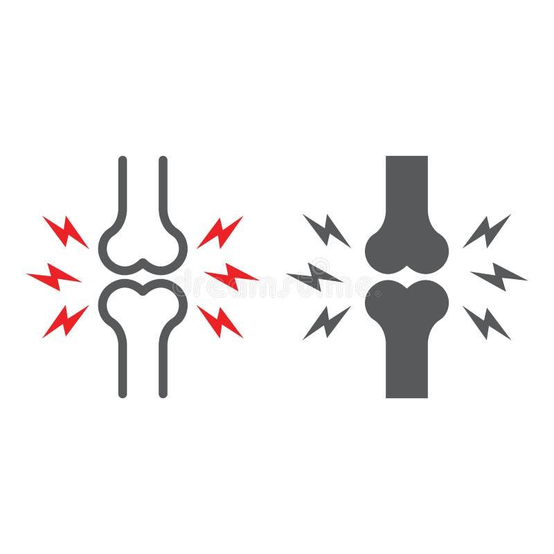Γραμμή πόνου κόκκαλων και glyph εικονίδιο, σώμα και επίπονο, κοινό σημάδι πόνου, διανυσματική γραφική παράσταση, ένα γραμμικό σχέ διανυσματική απεικόνιση