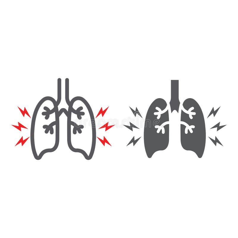 Γραμμή πόνου πνευμόνων και glyph εικονίδιο, σώμα και επίπονος, σημάδι πόνου πνευμόνων, διανυσματική γραφική παράσταση, ένα γραμμι διανυσματική απεικόνιση