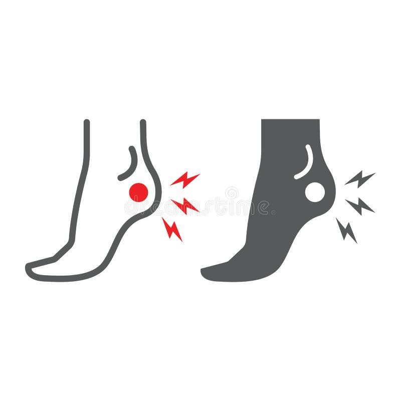 Γραμμή πόνου τακουνιών και glyph εικονίδιο, σώμα και επίπονος, σημάδι πόνου ποδιών, διανυσματική γραφική παράσταση, ένα γραμμικό  απεικόνιση αποθεμάτων