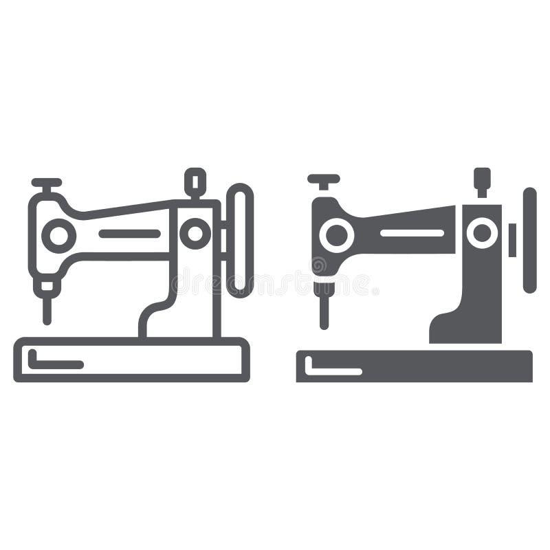 Γραμμή ράβοντας μηχανών και glyph εικονίδιο, χόμπι και handcraft, οικιακό σημάδι, διανυσματική γραφική παράσταση, ένα γραμμικό σχ ελεύθερη απεικόνιση δικαιώματος