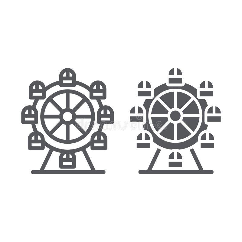 Γραμμή ροδών Ferris και glyph εικονίδιο, funfair και ψυχαγωγία, σημάδι ιπποδρομίων, διανυσματική γραφική παράσταση, ένα γραμμικό  απεικόνιση αποθεμάτων