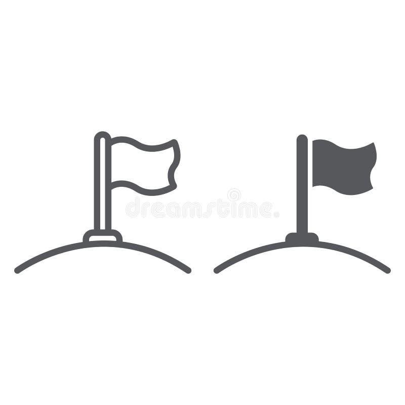 Γραμμή σημαιών και glyph εικονίδιο, κατεύθυνση και σημαία, σημάδι κονταριών σημαίας, διανυσματική γραφική παράσταση, ένα γραμμικό διανυσματική απεικόνιση