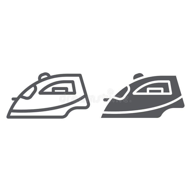Γραμμή σιδήρου και glyph εικονίδιο, συσκευή και σπίτι, σημάδι σιδήρου ατμού, διανυσματική γραφική παράσταση, ένα γραμμικό σχέδιο  ελεύθερη απεικόνιση δικαιώματος