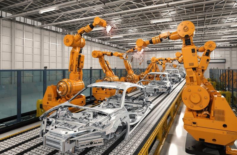 Γραμμή συνελεύσεων ρομπότ στο εργοστάσιο αυτοκινήτων διανυσματική απεικόνιση
