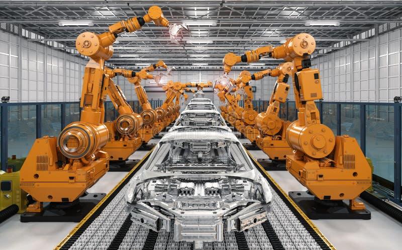 Γραμμή συνελεύσεων ρομπότ στο εργοστάσιο αυτοκινήτων απεικόνιση αποθεμάτων