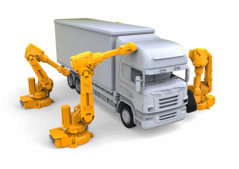 Γραμμή συνελεύσεων φορτηγών διανυσματική απεικόνιση