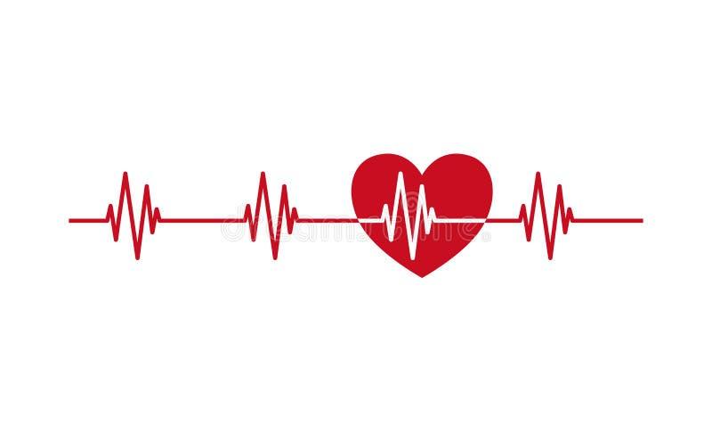 Γραμμή σφυγμού κτύπου της καρδιάς με το εικονίδιο καρδιών ελεύθερη απεικόνιση δικαιώματος