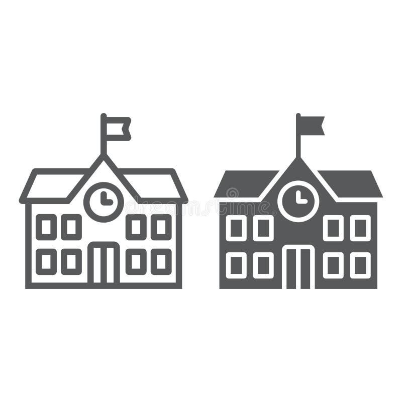 Γραμμή σχολικού κτιρίου και glyph εικονίδιο, σχολείο και εκπαίδευση, διανυσματική γραφική παράσταση σημαδιών αρχιτεκτονικής, ένα  διανυσματική απεικόνιση