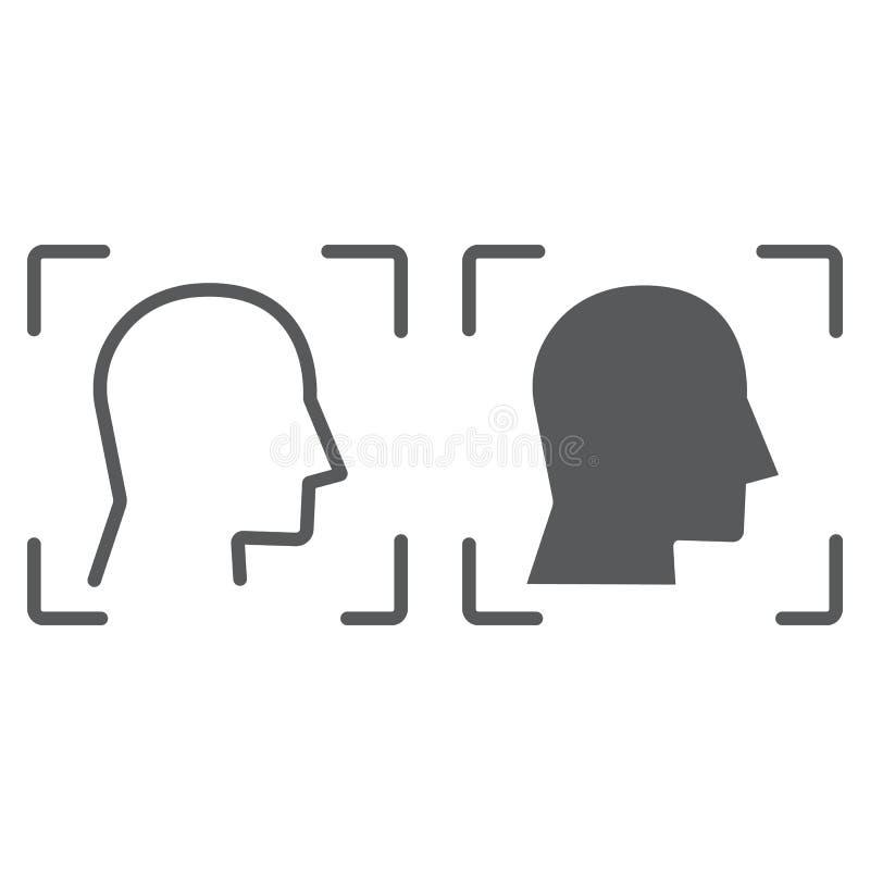 Γραμμή ταυτότητας προσώπου και glyph εικονίδιο, αναγνώριση προσώπου και προσδιορισμός προσώπου, σημάδι ανίχνευσης προσώπου, διανυ απεικόνιση αποθεμάτων