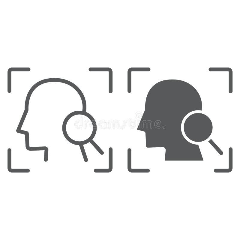 Γραμμή ταυτότητας προσώπου και glyph εικονίδιο, αναγνώριση προσώπου και προσδιορισμός προσώπου, σημάδι ανίχνευσης προσώπου, διανυ διανυσματική απεικόνιση