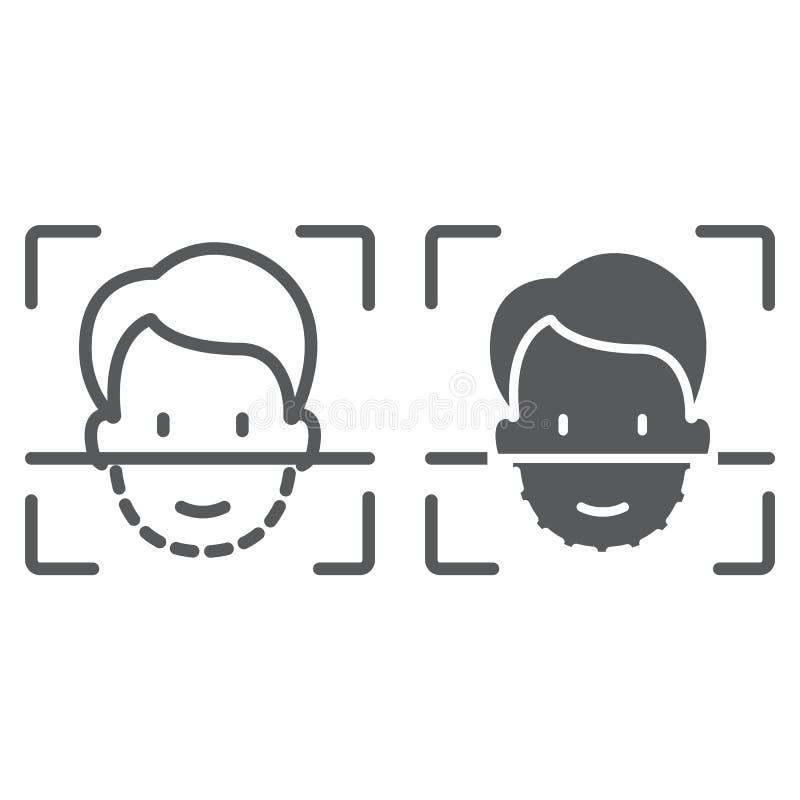 Γραμμή ταυτότητας προσώπου και glyph εικονίδιο, αναγνώριση προσώπου και προσδιορισμός προσώπου, σημάδι ανίχνευσης προσώπου, διανυ ελεύθερη απεικόνιση δικαιώματος