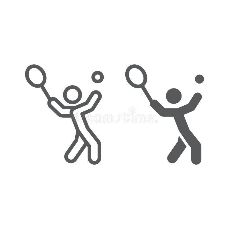 Γραμμή τενιστών και glyph εικονίδιο, αθλητισμός και ενεργός, αθλητικός τύπος με το σημάδι ρακετών, διανυσματική γραφική παράσταση διανυσματική απεικόνιση