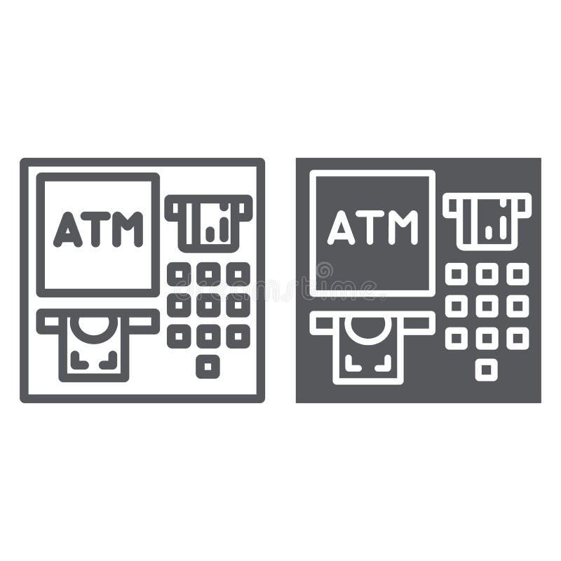 Γραμμή του ATM και glyph εικονίδιο, χρηματοδότηση και μετρητά, σημάδι μηχανών κατάθεσης, διανυσματική γραφική παράσταση, ένα γραμ ελεύθερη απεικόνιση δικαιώματος