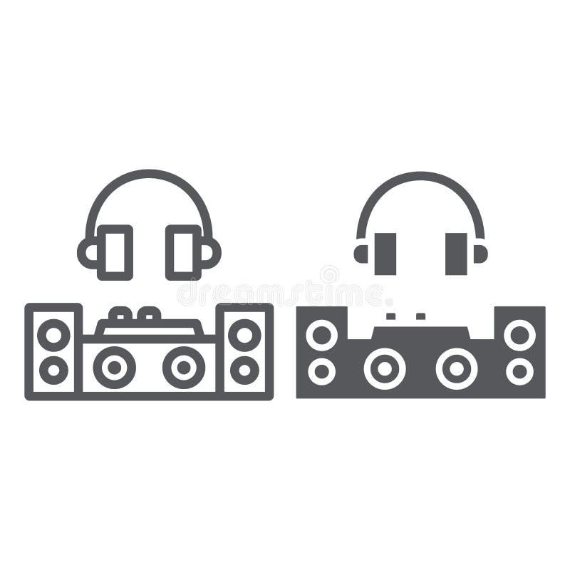 Γραμμή του DJ και glyph εικονίδιο, κόμμα και μουσική, σημάδι αναμικτών του DJ, διανυσματική γραφική παράσταση, ένα γραμμικό σχέδι ελεύθερη απεικόνιση δικαιώματος