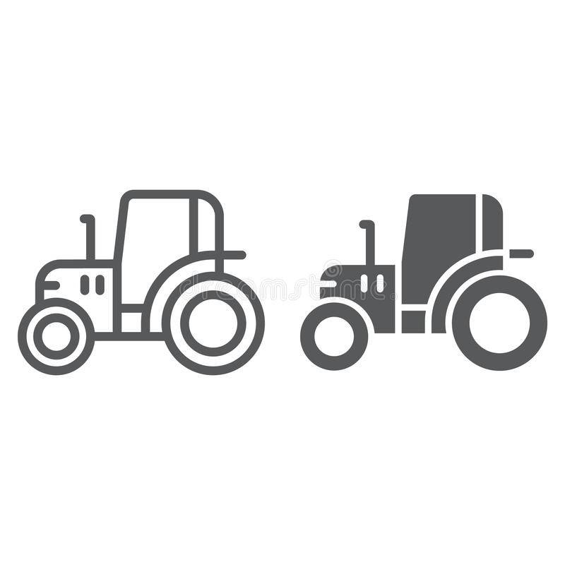 Γραμμή τρακτέρ και glyph εικονίδιο, αγρόκτημα και γεωργία, σημάδι οχημάτων, διανυσματική γραφική παράσταση, ένα γραμμικό σχέδιο σ ελεύθερη απεικόνιση δικαιώματος