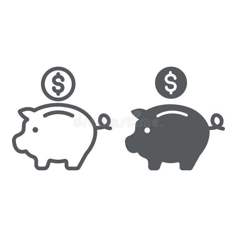 Γραμμή τραπεζών Piggy και glyph εικονίδιο, χρηματοδότηση και τραπεζικές εργασίες, σημάδι επένδυσης, διανυσματική γραφική παράστασ διανυσματική απεικόνιση