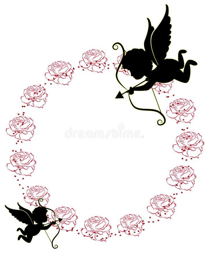Γραμμή τριαντάφυλλου και cupid διανυσματικών σχεδίων καρτών για την ημέρα βαλεντίνων διανυσματική απεικόνιση