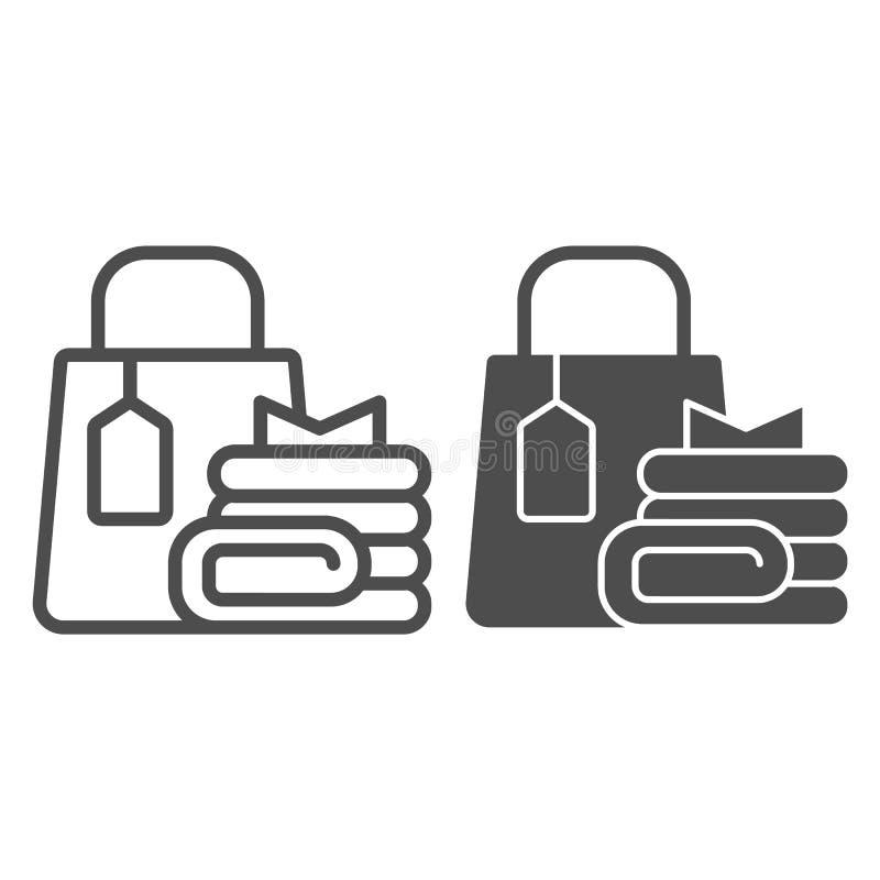 Γραμμή τσαντών και ενδυμάτων αγορών και glyph εικονίδιο Τσάντα αγοράς τη διανυσματική απεικόνιση αγορών που απομονώνεται με στο λ ελεύθερη απεικόνιση δικαιώματος