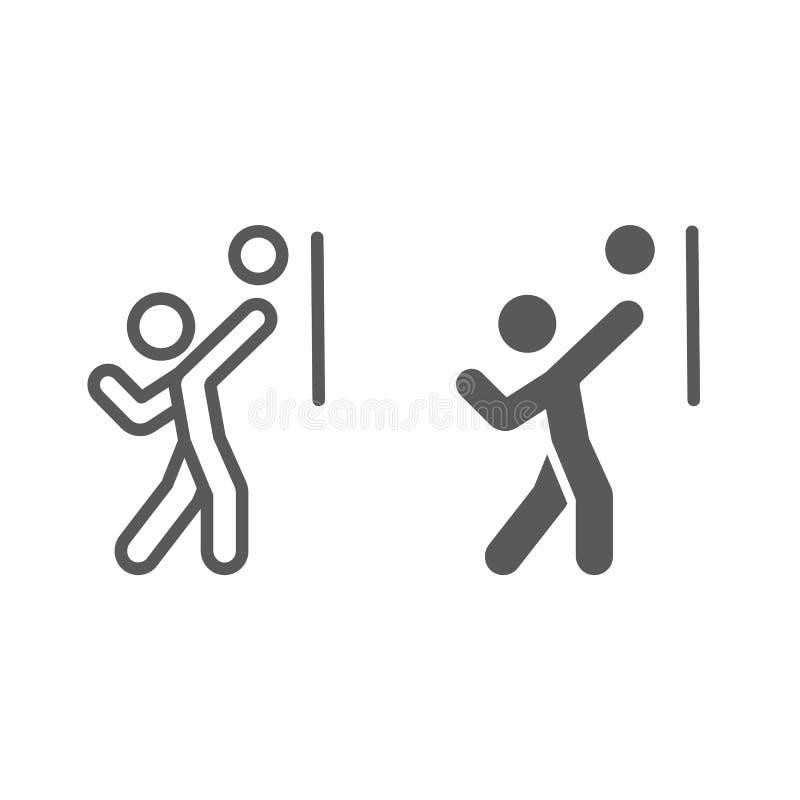 Γραμμή φορέων πετοσφαίρισης και glyph εικονίδιο, αθλητισμός και ενεργός, πρόσωπο με το σημάδι σφαιρών, διανυσματική γραφική παράσ ελεύθερη απεικόνιση δικαιώματος