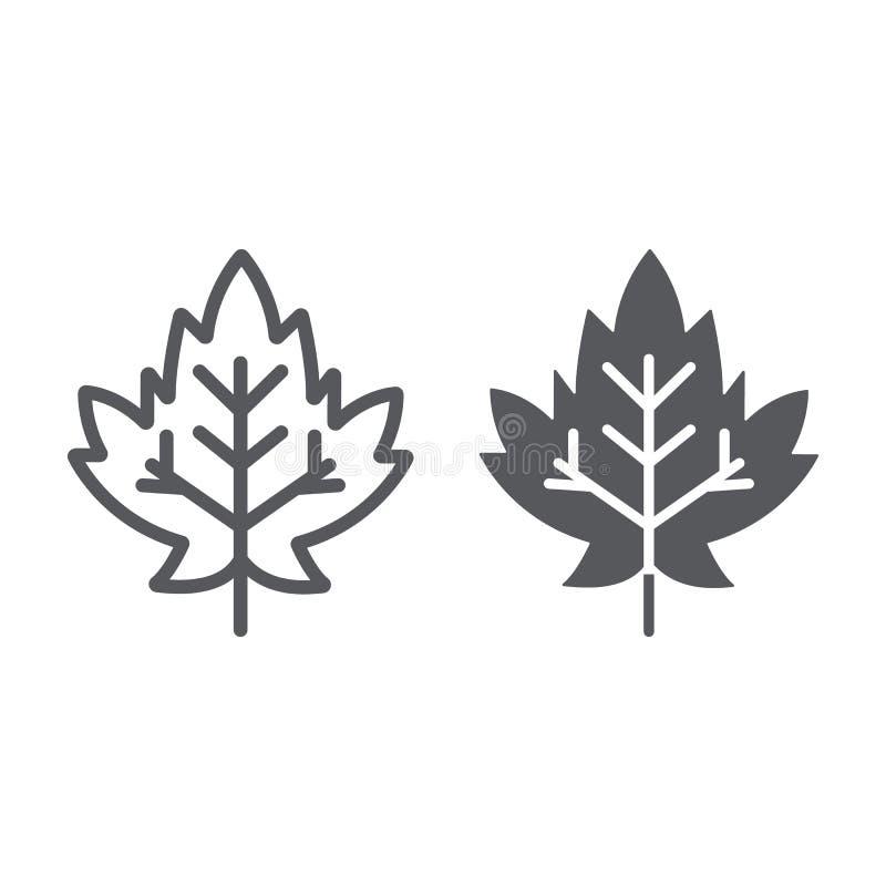 Γραμμή φύλλων σφενδάμου και glyph εικονίδιο, φύλλωμα και φύση, σημάδι φύλλων φθινοπώρου, διανυσματική γραφική παράσταση, ένα γραμ διανυσματική απεικόνιση