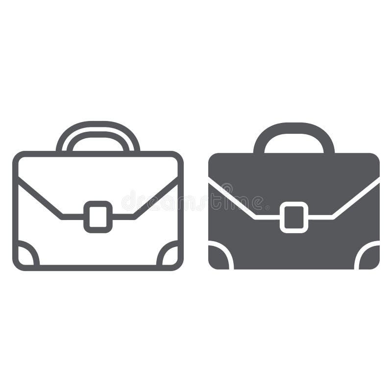 Γραμμή χαρτοφυλάκων και glyph εικονίδιο, αποσκευές και τσάντα, σημάδι χαρτοφυλακίων, διανυσματική γραφική παράσταση, ένα γραμμικό ελεύθερη απεικόνιση δικαιώματος