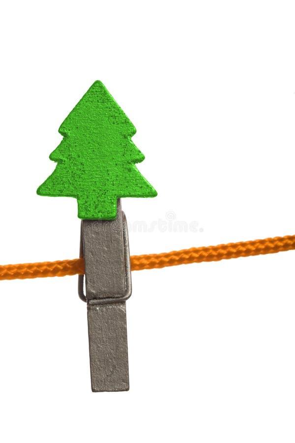 γραμμή Χριστουγέννων clothespin στοκ εικόνες