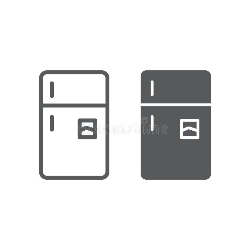 Γραμμή ψυγείων και glyph εικονίδιο, πάγωμα και οικογένεια, σημάδι ψυγείων, διανυσματική γραφική παράσταση, ένα γραμμικό σχέδιο απεικόνιση αποθεμάτων
