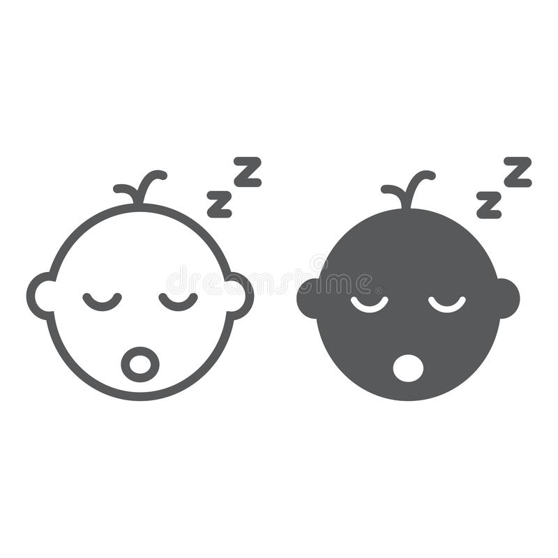 Γραμμή ύπνου αγοράκι και glyph εικονίδιο, παιδί και ύπνος, σημάδι παιδιών, διανυσματική γραφική παράσταση, ένα γραμμικό σχέδιο σε ελεύθερη απεικόνιση δικαιώματος