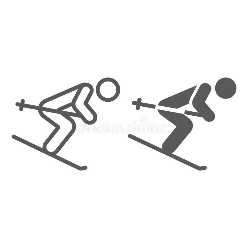 Γραμμή alpine skiing και glyph εικονίδιο, αθλητισμός και χειμώνας, σημάδι σκιέρ, διανυσματική γραφική παράσταση, ένα γραμμικό σχέ ελεύθερη απεικόνιση δικαιώματος