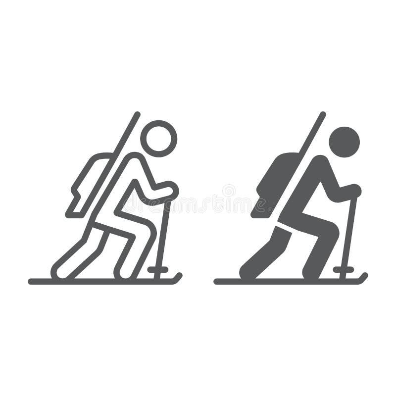 Γραμμή Biathlon και glyph εικονίδιο, αθλητισμός και χειμώνας, σημάδι σκιέρ, διανυσματική γραφική παράσταση, ένα γραμμικό σχέδιο σ απεικόνιση αποθεμάτων