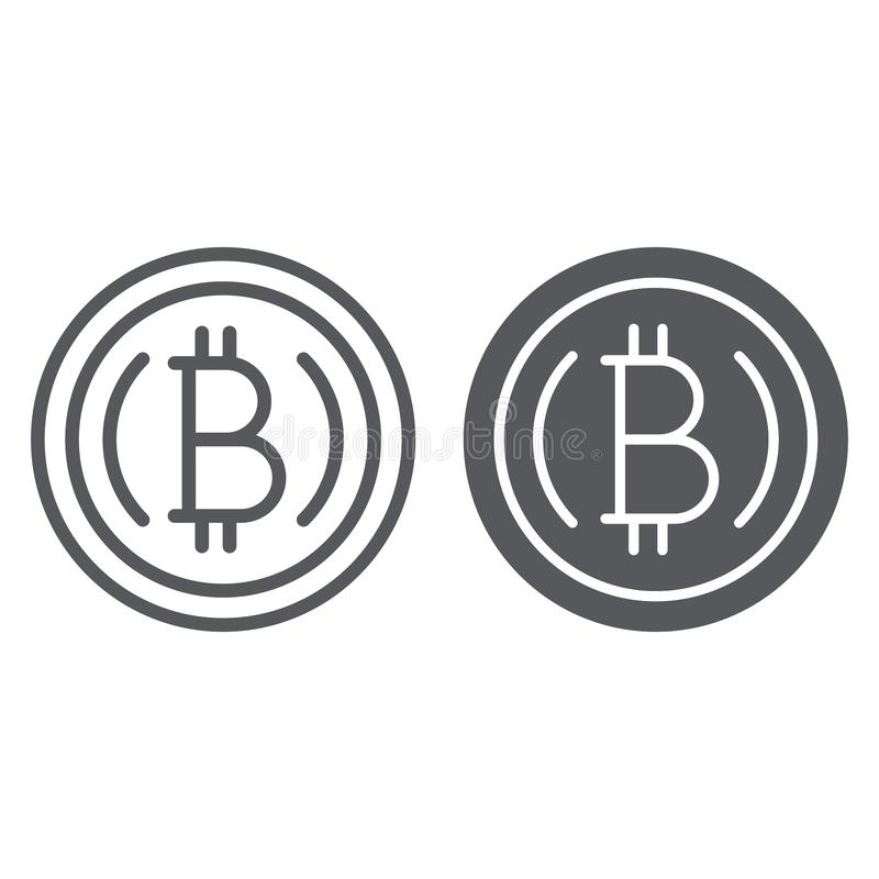 Γραμμή Bitcoin και glyph εικονίδιο, χρηματοδότηση και crypto, σημάδι cryptocurrency, διανυσματική γραφική παράσταση, ένα γραμμικό ελεύθερη απεικόνιση δικαιώματος