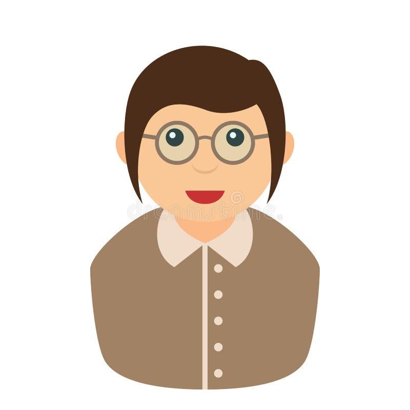 Γραμματέων γυναικών εικονίδιο που απομονώνεται επίπεδο στο λευκό διανυσματική απεικόνιση