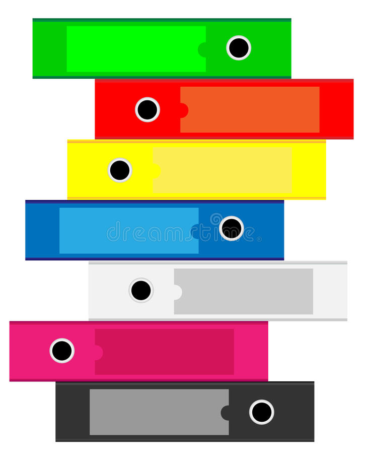 Γραμματοθήκες γραφείων για τα έγγραφα απεικόνιση αποθεμάτων