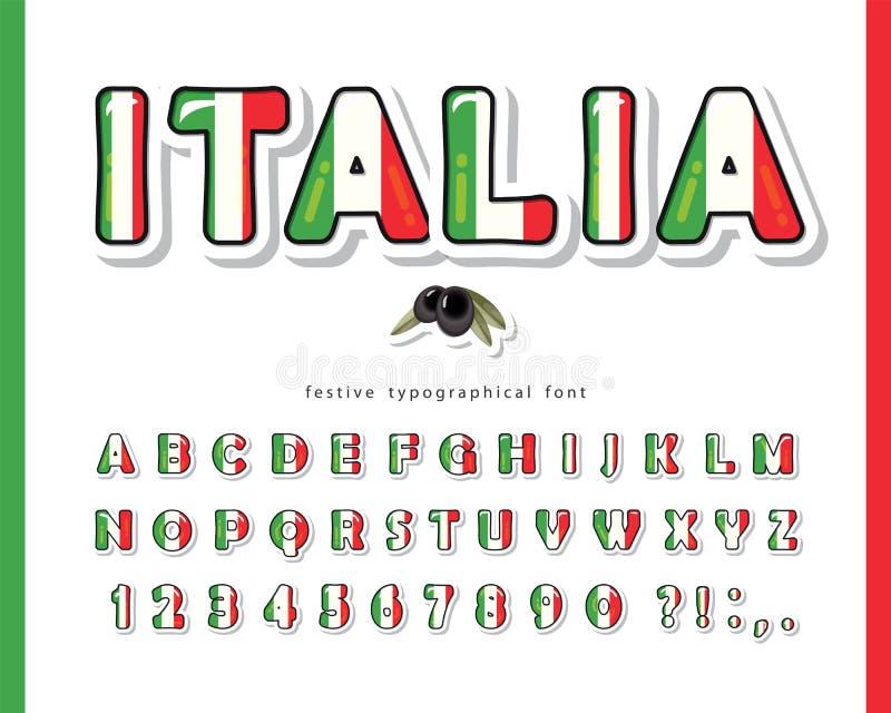 γραμματοσειρά κινουμένων σχεδίων Ιταλίας Ιταλικά χρώματα εθνικής σημαίας Επιστολόχαρτα γυαλιστερά γράμματα και αριθμοί ABC Φωτειν ελεύθερη απεικόνιση δικαιώματος