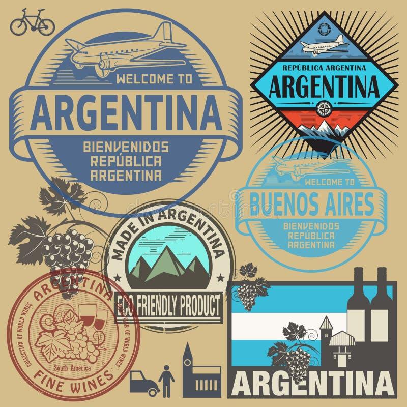 Γραμματόσημα ή σύμβολα ταξιδιού καθορισμένα αργεντινά απεικόνιση αποθεμάτων