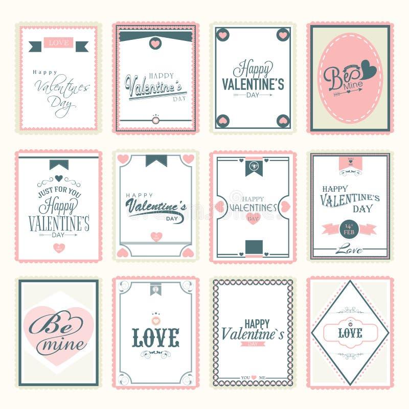 Γραμματόσημα αγάπης για τον ευτυχή εορτασμό ημέρας βαλεντίνων διανυσματική απεικόνιση