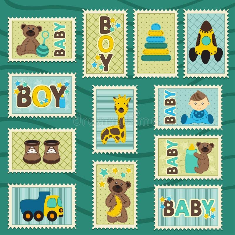 Γραμματόσημα αγοράκι διανυσματική απεικόνιση
