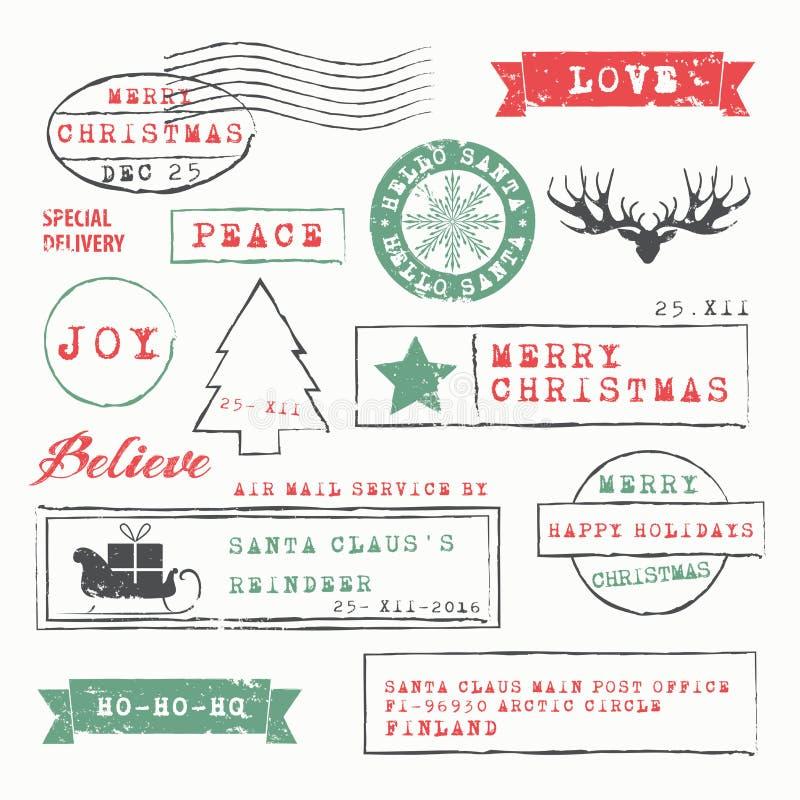 γραμματόσημα απεικόνισης στοιχείων σχεδίου συλλογής Χριστουγέννων διανυσματική απεικόνιση