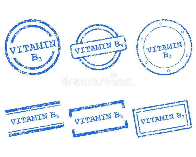 Γραμματόσημα βιταμινών B3 διανυσματική απεικόνιση