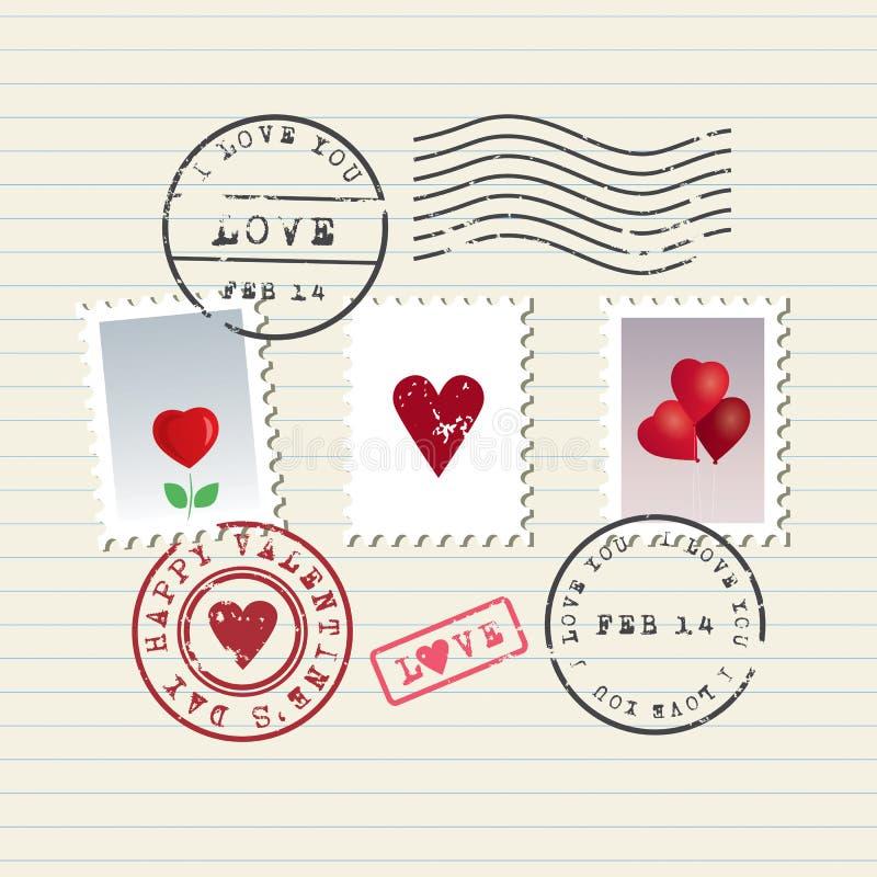 Γραμματόσημα ημέρας βαλεντίνου καθορισμένα διανυσματική απεικόνιση