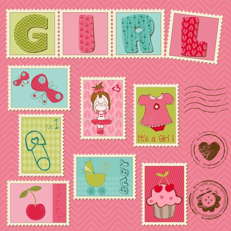 Γραμματόσημα κοριτσακιών απεικόνιση αποθεμάτων