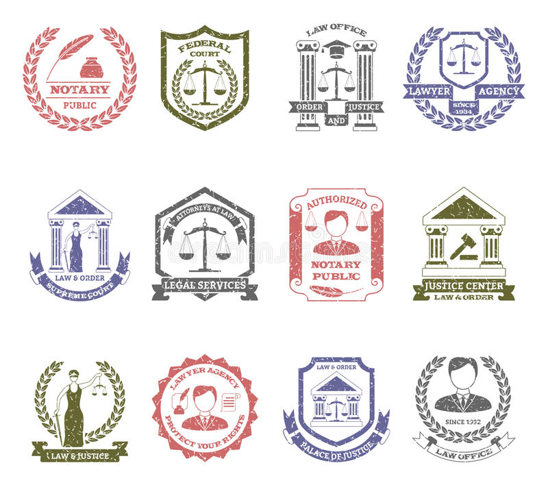 Γραμματόσημα λογότυπων νόμου και τάξης καθορισμένα ελεύθερη απεικόνιση δικαιώματος