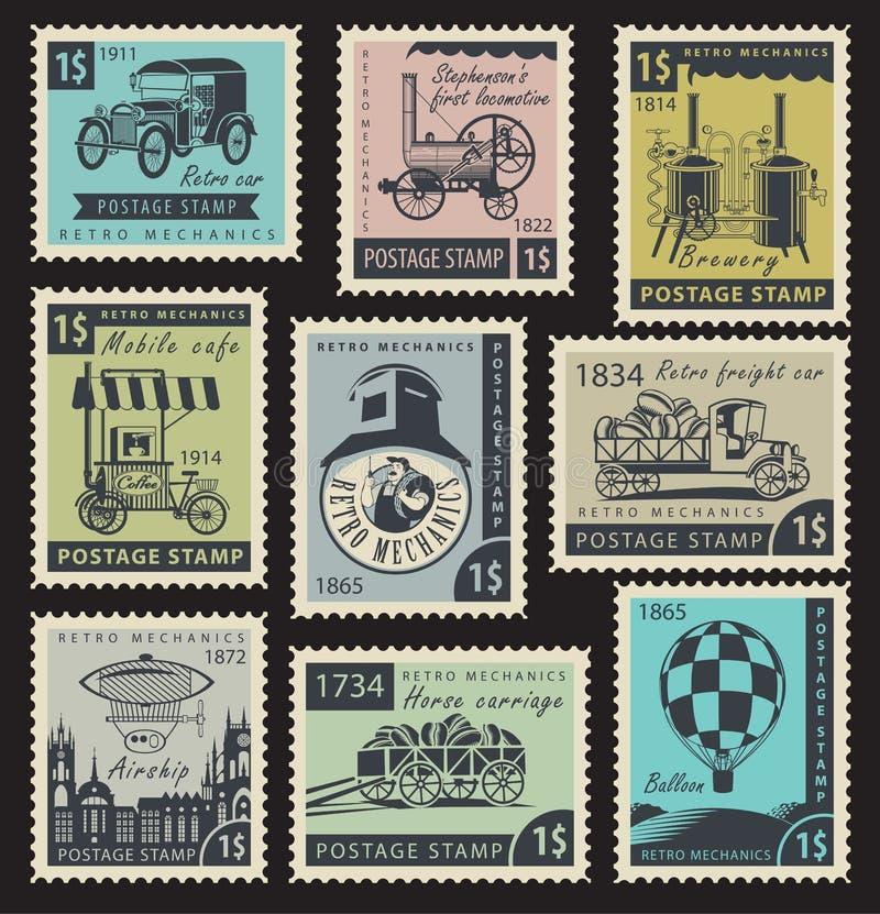 Γραμματόσημα στους αναδρομικούς μηχανικούς απεικόνιση αποθεμάτων