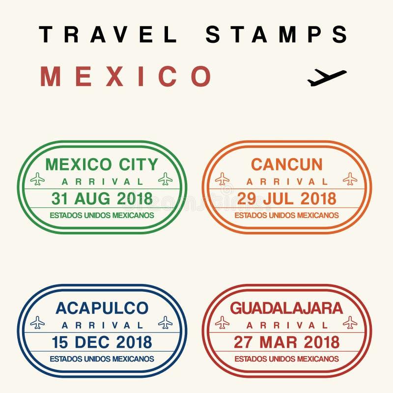 Γραμματόσημα ταξιδιού του Μεξικού διανυσματική απεικόνιση