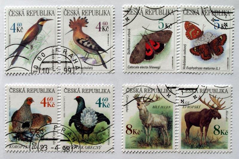 γραμματόσημα Τσεχιών ζώων στοκ εικόνα με δικαίωμα ελεύθερης χρήσης