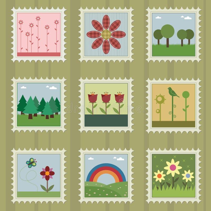 γραμματόσημα φύσης διανυσματική απεικόνιση