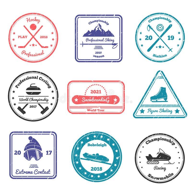 Γραμματόσημα χειμερινού αθλητισμού διανυσματική απεικόνιση