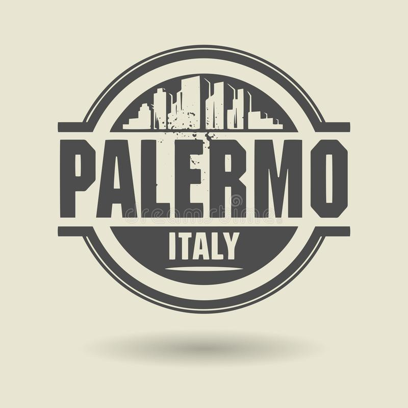 Γραμματόσημο ή ετικέτα με το κείμενο Παλέρμο, Ιταλία μέσα διανυσματική απεικόνιση