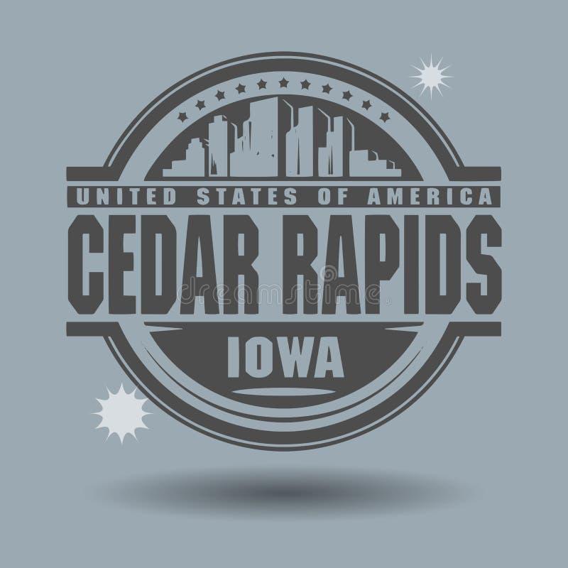 Γραμματόσημο ή ετικέτα με το Cedar Rapids κειμένων, Αϊόβα μέσα διανυσματική απεικόνιση